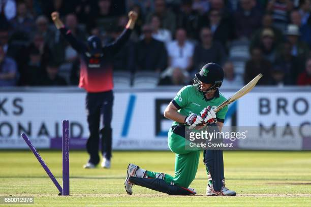 William Porterfield of Ireland looks on after being bowled out by Mark Wood of England during the Royal London ODI between England and Ireland at...