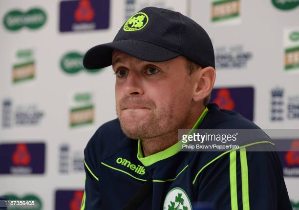 William Porterfield of Ireland looks on in a press conference before the one off test match against Ireland at Lord's on July 23 2019 in London...