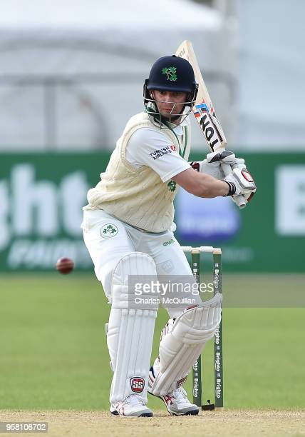 William Porterfield of Ireland plays a delivery during the third day of the test cricket match between Ireland and Pakistan on May 13 2018 in...
