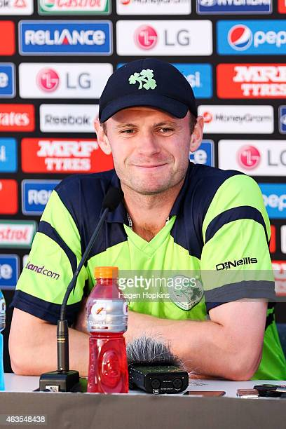 William Porterfield of Ireland speaks to media during the 2015 ICC Cricket World Cup match between the West Indies and Ireland at Saxton Field on...
