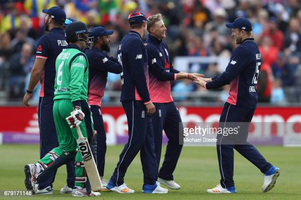 William Porterfield of Ireland walks after being caught by David Willey off the bowling of Joe Root of England coduring the Royal London One Day...