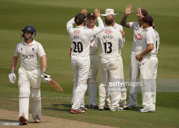William Porterfield of Warwickshire walks off after being dismissed during day two of the LV County Championship division one match between Surrey...