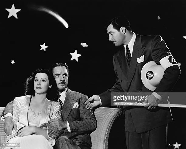 William Powell as William S Whitley Hedy Lamarr as Vicky Whitley and James Craig as Lloyd X Hunter in the 1943 comedy The Heavenly Body