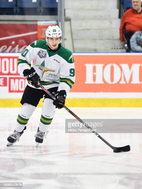 William Provost of the Valdu2019Or Foreurs skates the puck in the warmup prior to the QMJHL game against the BlainvilleBoisbriand Armada at Centre...