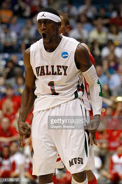 William Pugh of the Mississippi Valley State Delta Devils reacts after a three-pointer in the second half against the Western Kentucky Hilltoppers in...
