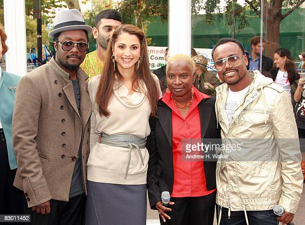 William Rania Al Abdullah Queen of Jordan Angelique Kidjo and apldeap attend the launch of the In My Name global campaign at Dag Hammarskjold Plaza...