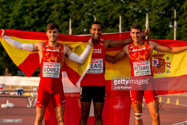 William Reais of Switzerland pose with the flag after Men's 200m Final during 2021 European Athletics U23 Championships - Day 3 at at Kadriorg...