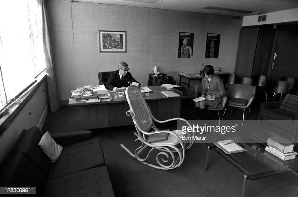 William Rees-Mogg , British journalist and Editor of The Times, interviewed for Time Magazine in his London office, UK, November 29, 1973.