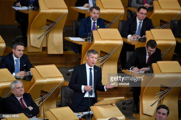 William Rennie leader of the Scottish Liberal Democrats attends the debate on a second independence referendum at the Scottish Parliament on March 21...