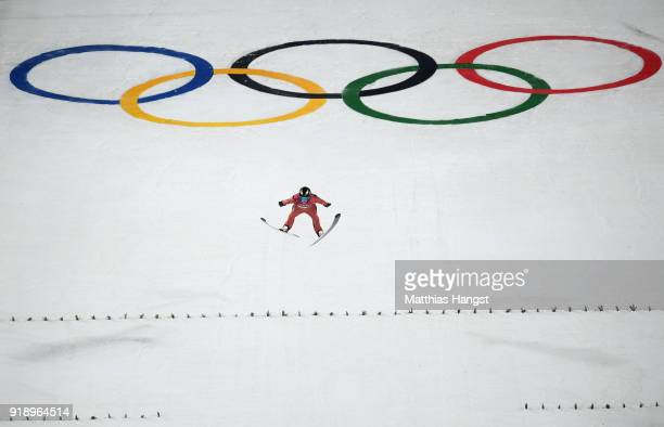 William Rhoads of the United States competes during the Ski Jumping Men's Large Hill Individual Qualification at Alpensia Ski Jumping Center on...