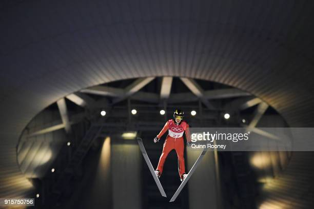William Rhoads of the United States competes in the Men's Normal Hill Individual Qualification at Alpensia Ski Jumping Centre on February 8 2018 in...