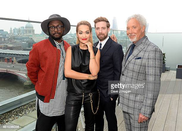 WillIAm Rita Ora Ricky Wilson and Sir Tom Jones attend the launch of The Voice UK Series 4 at The Mondrian Hotel on January 5 2015 in London England