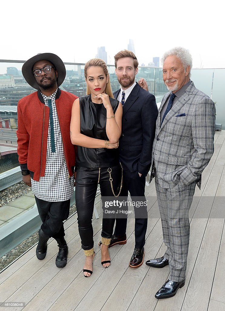 Will.I.Am, Rita Ora Ricky Wilson and Sir Tom Jones attend the launch of 'The Voice UK' Series 4 at The Mondrian Hotel on January 5, 2015 in London, England.