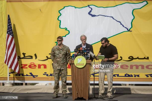William Roebuck, advisor for the US Department of State in northern Syria speaks during a SDF victory ceremony announcing the defeat of ISIL in...