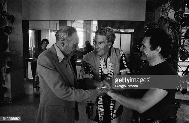 William S Burroughs Brion Gysin and John Giorno during the Festival Internazionale dei Poeti Castel Porziano