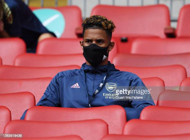 William Saliba of Arsenal before the FA Cup Final match between Arsenal and Chelsea at Wembley Stadium on August 01 2020 in London England Football...