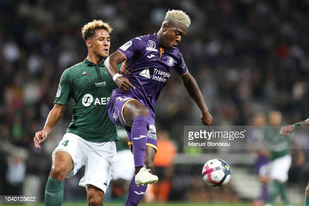 William Saliba of Saint Etienne and Aaron Leya Iseka of Toulouse during the Ligue 1 match between Toulouse and St Etienne at Stadium Municipal on...