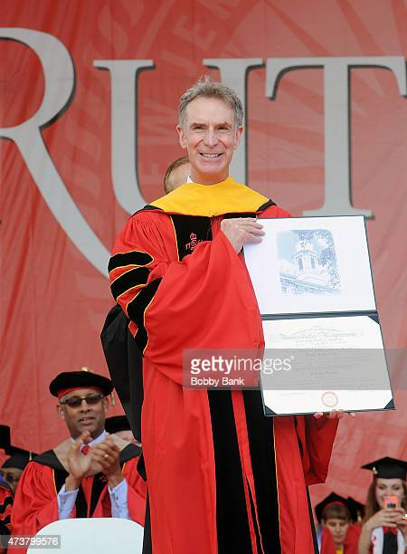 William Sanford Nye attends 249th Anniversary Commencement Of Rutgers University at High Point Solutions Stadium on May 17, 2015 in Piscataway, New...