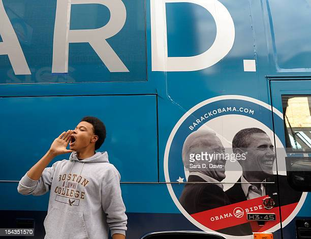 William Seabreeze, 19 of Wilson, leads a chant outside the Democratic National Committee and Obama for America ÒGotta VoteÓ Bus on October 18, 2012...