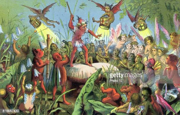 A Midsummer Night's Dream First performed c1596 Act 2 Sc 2 Ariel standing on toadstool conducting The Fairies' Song 'You spotted snakes with double...