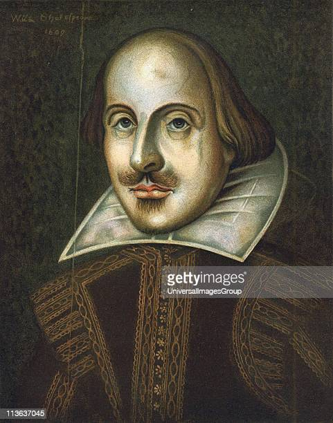 William Shakespeare English playwright Anonymous portrait in oils dated 1609 This is the portrait engraved by Droeshout for the First Folio of 1623