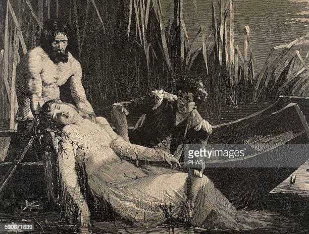 William Shakespeare English writer Hamlet Death of Ophelia Engraving 19th century