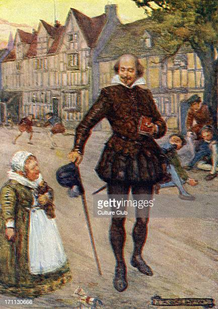 William Shakespeare in an Elizabethan street scene Caption reads 'Children we feel sure did not stop their talk hwne he came near them but continued...