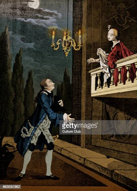William Shakespeare Romeo Juliet The Balcony Scene Act II Sc ii Spranger Berry as Romeo Miss Nossiter as Juliet by R Pyle 1759 18th century version...