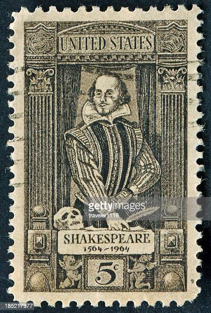 william shakespeare stamp - shakespeare stock photos and pictures