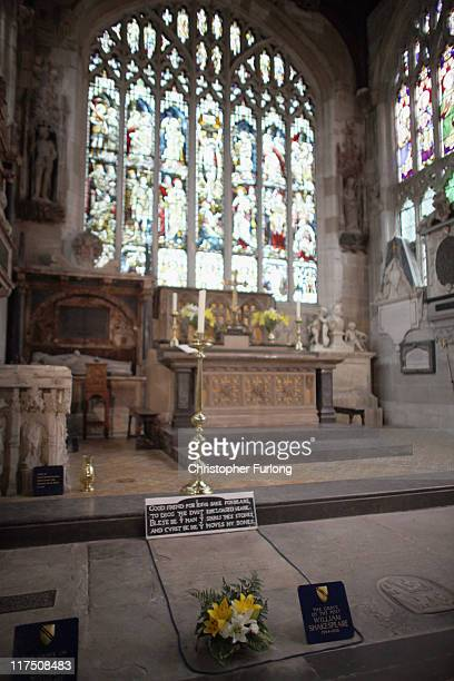 William Shakespeare's grave in Holy trinity Church on June 27 2011 in StratforduponAvon England StratfordUponAvon the birthplace of William...