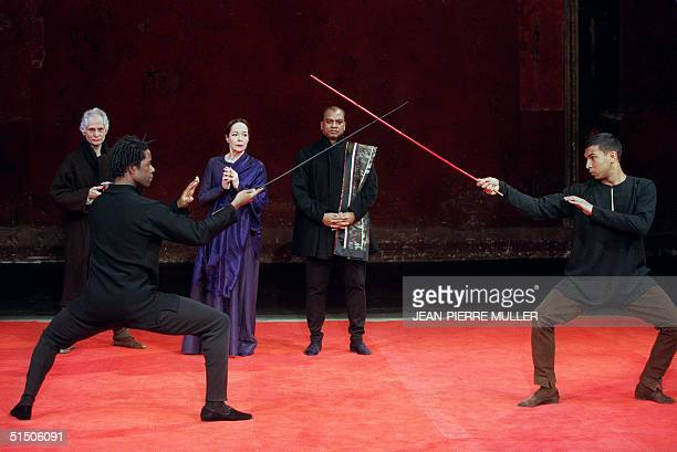 William Shakespeare's Tragedy of Hamlet characters are performed 24 November 2000 in English by British actors Adrian Lester and by Rohan Siva while...