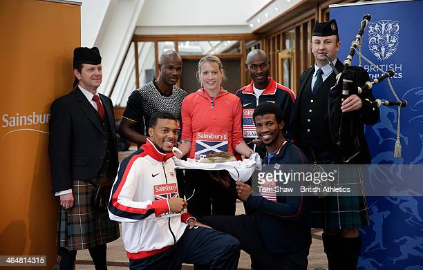 William Sharman of Britain Brenard Laget of the USA Eilidh Child of Scotland Kim Collins of Commonwealth Select and Richard Browne of USA pose for a...