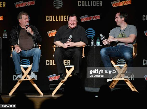 William Shatner and Burt Ward speak onstage during the World Premiere of Batman vs Two Face at the 2017 New York Comic Con Day 4 on October 8 2017 in...