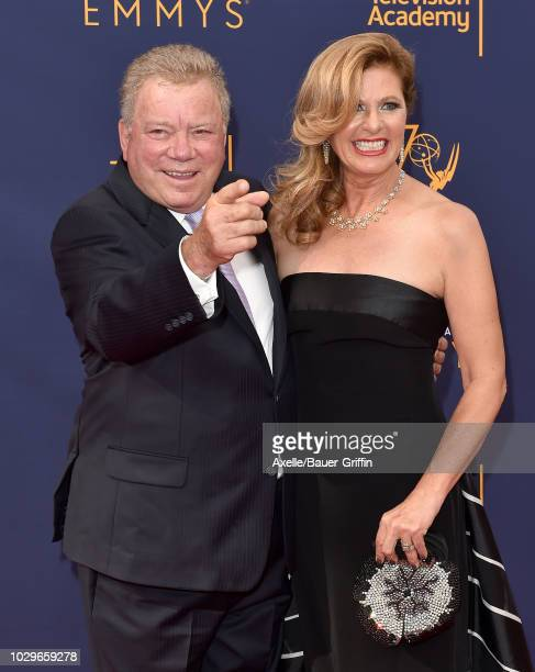 William Shatner and Elizabeth Shatner attend the 2018 Creative Arts Emmy Awards at Microsoft Theater on September 8 2018 in Los Angeles California