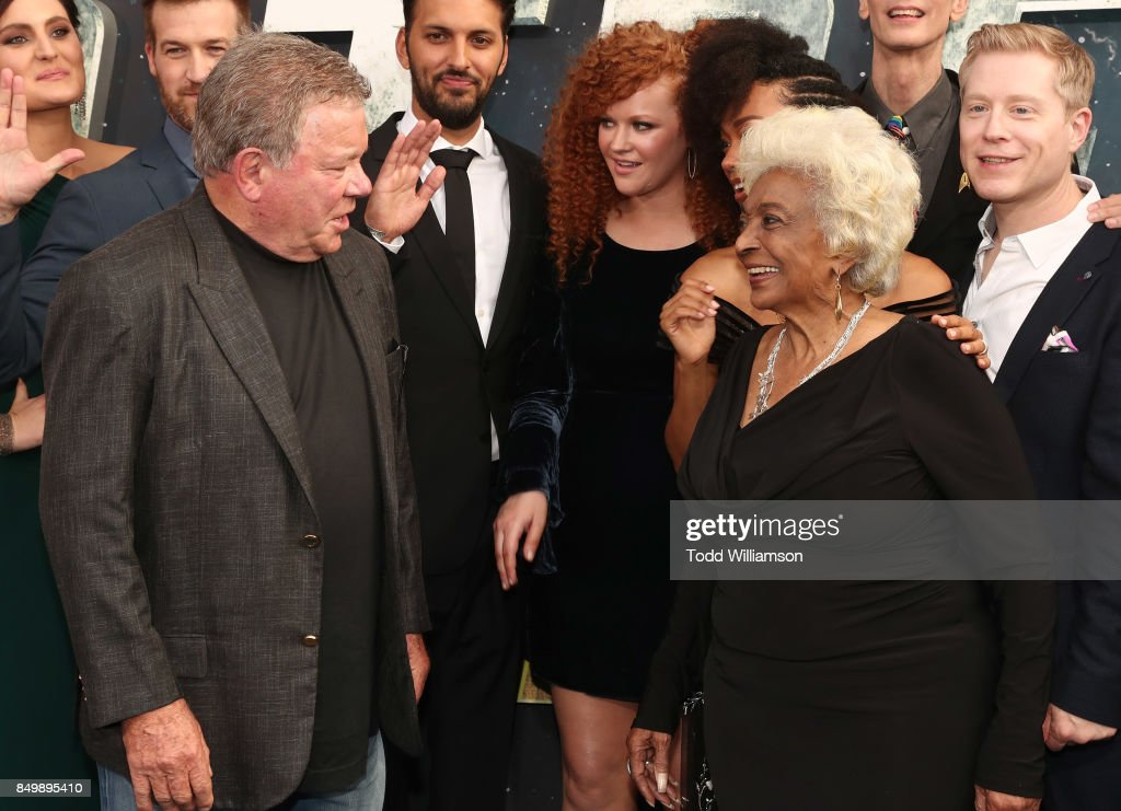 William Shatner and Nichelle Nichols attend the premiere of CBS's 'Star Trek: Discovery' at The Cinerama Dome on September 19, 2017 in Los Angeles, California.
