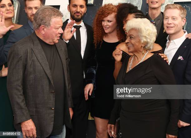 William Shatner and Nichelle Nichols attend the premiere of CBS's 'Star Trek Discovery' at The Cinerama Dome on September 19 2017 in Los Angeles...