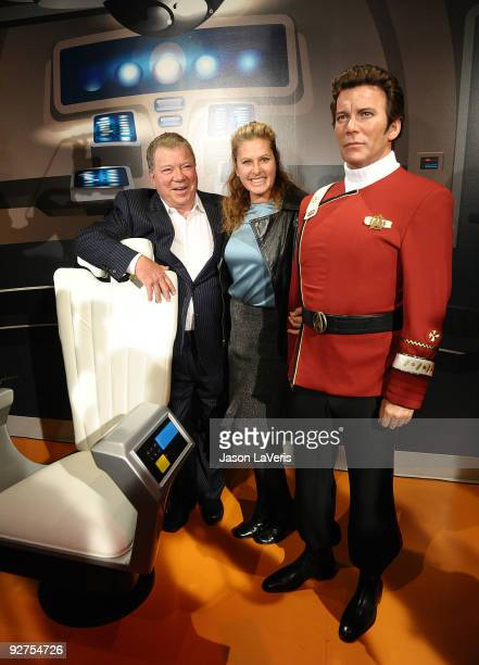 William Shatner and wife Elizabeth Anderson Martin poses with a wax figure of Captain Kirk at Madame Tussaud's Wax Museum in Hollywood on November 4...