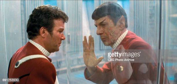William Shatner as Admiral James T Kirk and Leonard Nimoy as Captain Spock in the movie Star Trek II The Wrath of Khan Release date June 4 1982 Image...