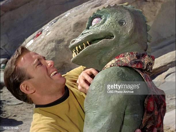 "William Shatner as Capt. James T. Kirk fighting the Gorn in ""Arena"". Original air date January 19 season 1, episode 19. Image is a screen grab."
