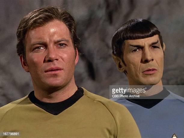 "William Shatner as Captain James T. Kirk and Leonard Nimoy as Mr. Spock in the STAR TREK: THE ORIGINAL SERIES episode, ""The Cloud Minders."" Season 3,..."