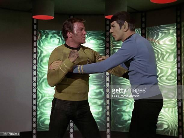 William Shatner as Captain James T Kirk and Leonard Nimoy as Mr Spock in the STAR TREK THE ORIGINAL SERIES episode The Cloud Minders Season 3 episode...