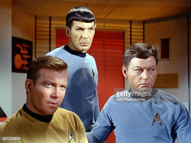 William Shatner as Captain James T. Kirk, Leonard Nimoy as Mr. Spock and DeForest Kelley as Dr. McCoy in the STAR TREK: THE ORIGINAL SERIES episode,...