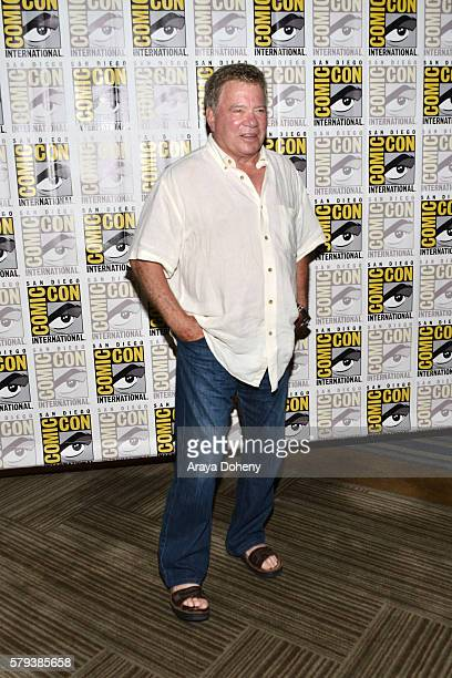 William Shatner attends the Star Trek 50 press line at ComicCon International 2016 Day 3 on July 23 2016 in San Diego California