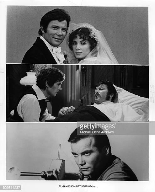 William Shatner poses with Margaret O'Brien after a wedding David Birney visits William Shatner in a scene for the TVMini Series Testimony of Two Men...