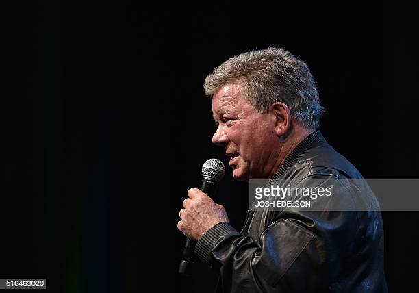 William Shatner speaks during the Silicon Valley Comic Con in San Jose California on March 18 2016 Presented by Steve Wozniak the comic and...