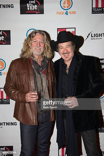 William Shockley and Kix Brooks attend the 'Ambush At Dark Canyon' premiere at the Country Music Hall of Fame and Museum on January 29 2014 in...