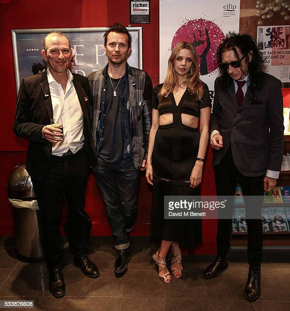 William Sieghart Robert Montgomery Greta Bellamacina and John Cooper Clarke attend a drink reception celebrating the UK Premiere of The Safe House A...