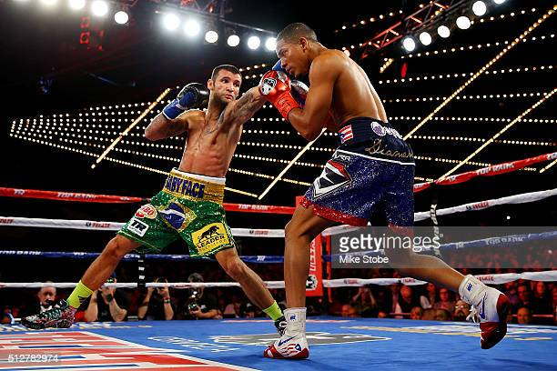 William Silva punches Felix Verdejo during the WBO Latino Champioship bout at Madison Square Garden on February 27, 2016 in New York City.