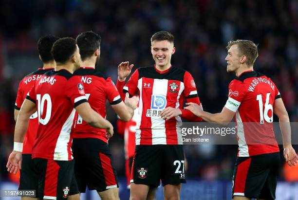 William Smallbone of Southampton celebrates with teammates after scoring his team's first goal during the FA Cup Third Round match between...