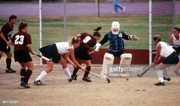 William Smith College goalie Marjie MacVean makes one of her five saves on goal against Springfield College during the Division III Women's Field...